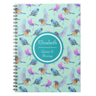 Personalized Wild Exotic Birds Watercolor Pattern Spiral Notebook