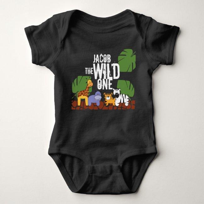 Personalized WILD ONE Green Safari 1st Birthday Baby Bodysuit