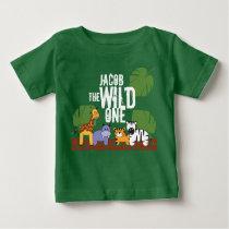 Personalized WILD ONE Green Safari 1st Birthday Baby T-Shirt