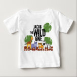 """Personalized WILD ONE Safari First Birthday Baby T-Shirt<br><div class=""""desc"""">Themed parties are great! I had too much fun illustrating these safari animals for my own child&#39;s birthday. Get your &quot;Wild One&quot; ready for the party with this tshirt and personalize it with his/her name. Select the right size for you. Some clients have also found this shirt a wonderful &quot;personalized&quot;...</div>"""