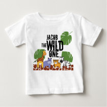 Personalized WILD ONE Safari First Birthday Baby T-Shirt
