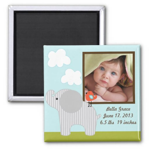 Personalized Wildlife Elephant Photo Frame Magnet