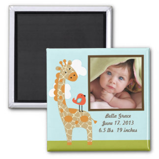 Personalized Wildlife Giraffe Photo Frame Magnet