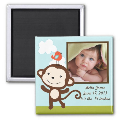 Personalized Wildlife Monkey Photo Frame Magnet