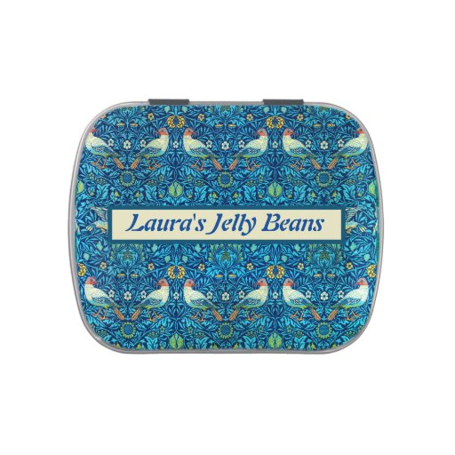 Personalized William Morris Birds 1878 Candy Tin