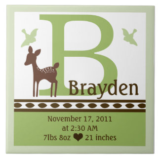 Personalized Willow Deer Birth Announcement Tile