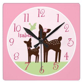 Personalized Willow Deer Girl  Nursery Clock