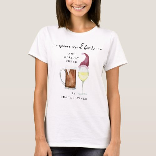 Personalized Wine and Beer  Holiday Cheer Family T_Shirt
