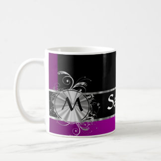 Personalized wine black and silver monogram coffee mug