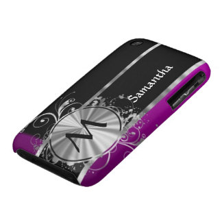 Personalized wine black and silver monogram iPhone 3 Case-Mate case