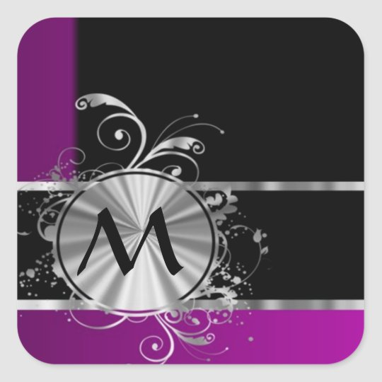 Personalized wine black and silver monogram square sticker