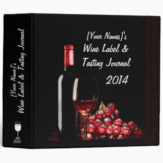 Personalized Wine Label & Tasting Journal 3 Ring Binder