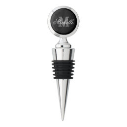Personalized wine stoppers with elegant monogram