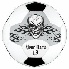 Personalized Winking Skull And Flame Soccer Ball at Zazzle