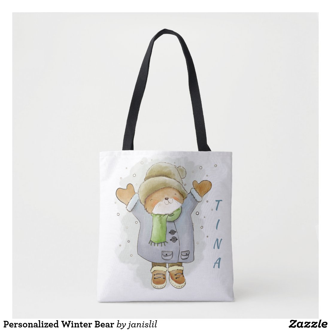Personalized Winter Bear Tote Bag