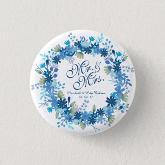 Personalized Winter Floral Wedding Pin Button