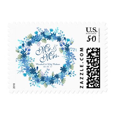 Bride Themed Personalized Winter Floral Wedding Postage Stamp