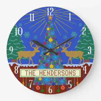 Personalized Winter Reindeer Christmas Tree Scene Large Clock