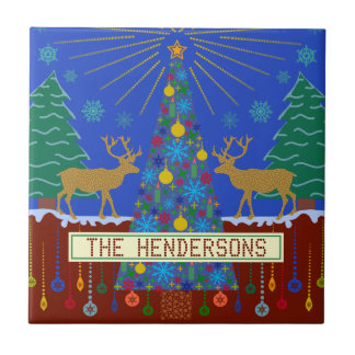 Personalized Winter Reindeer Christmas Tree Scene Small Square Tile