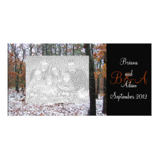 Personalized Winter Scene Frame Photocard Card