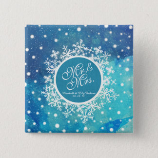 Personalized Winter Snowflakes Wedding Pin Button