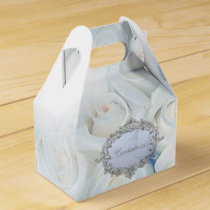 Personalized Winter White Roses Gable Favor Box