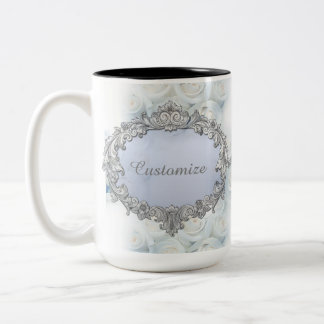 Personalized Winter White Roses Wedding Mug