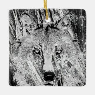 Personalized Winter Wolf, Tree Bark Happy Holidays Ceramic Ornament