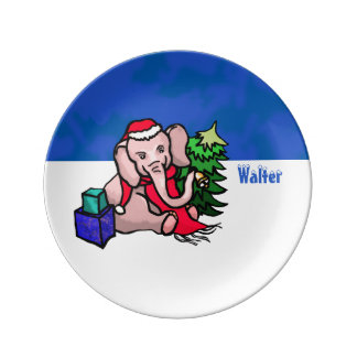Personalized Winterland Santa Christmas Elephant Dinner Plate