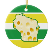 Personalized Wisconsin Cheese Head Funny Christmas Ceramic Ornament