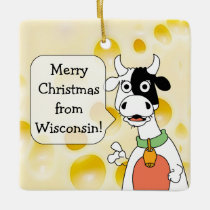 Personalized Wisconsin Cow and Cheese Christmas Ceramic Ornament