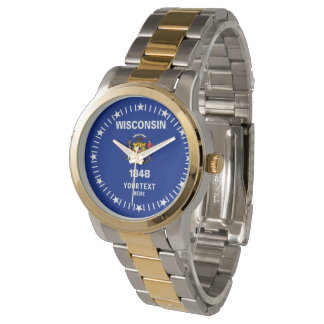 Personalized Wisconsin State Flag Design Wristwatches