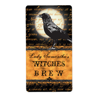 Personalized Witches Brew Halloween Bottle Label Shipping Label