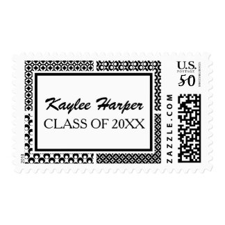 Personalized with 4 Black & White Retro Patterns Postage