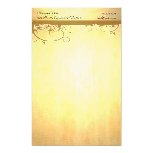 Personalized with Brown Swirls Stationery