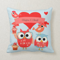 Personalized With Message Owls Valentine Pillow