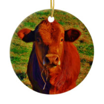 Personalized with name BABY BROWN COW EATING Ceramic Ornament