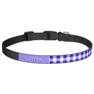 Personalized With Name Blue Gingham Checkers Plaid Pet Collar