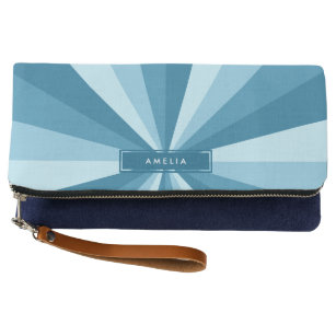 Personalized with Name Color Wheel Shades of Blue Clutch