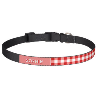 Personalized With Name Red Gingham Checkers Plaid Pet Collar