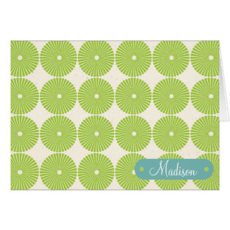 Personalized with Name Spring Green Circles Card