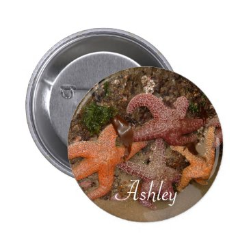 Beach Themed Personalized with Name: Starfish/Sea Star Photo 4 Pinback Button
