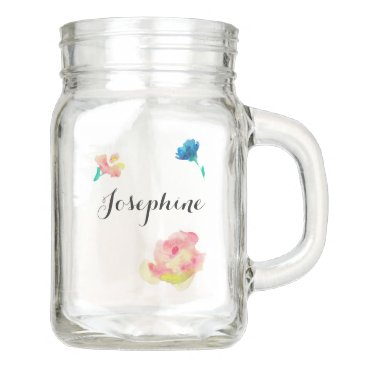 Beach Themed Personalized with Name, watercolor flowers Mason Jar