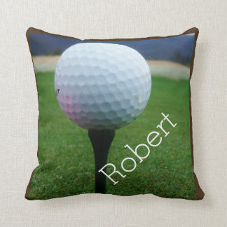 Personalized with Name white golf ball Throw Pillow