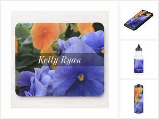 Personalized with Purple & Orange Pansies Photos