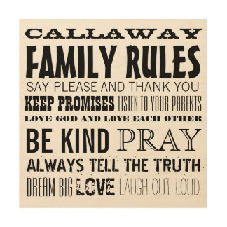 Personalized with your Family Name Family Rules Wood Wall Decor