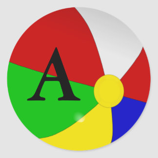 Personalized with Your Initial Beach Ball Stickers
