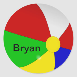 Personalized with Your Name Beach Ball Stickers