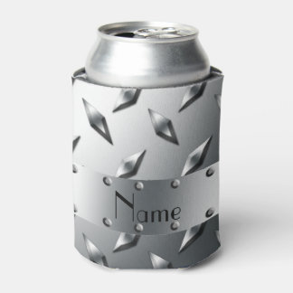 Personalized with your name diamond plate steel can cooler