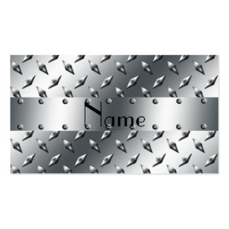 Personalized with your name diamond plate steel Double-Sided standard business cards (Pack of 100)